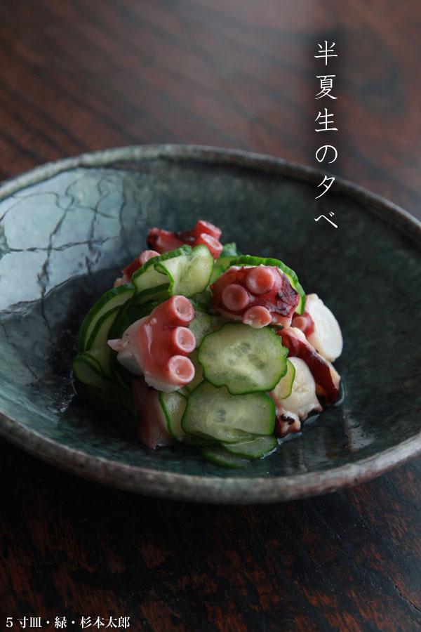 5寸皿・緑・杉本太郎:和食器の愉しみ・工芸店ようび