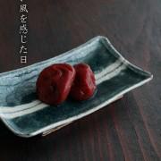 4.5×2.5寸長角皿・中線緑・杉本太郎
