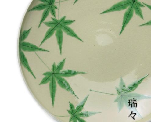 京焼・色絵青もみじ紋平向付・伏原博之