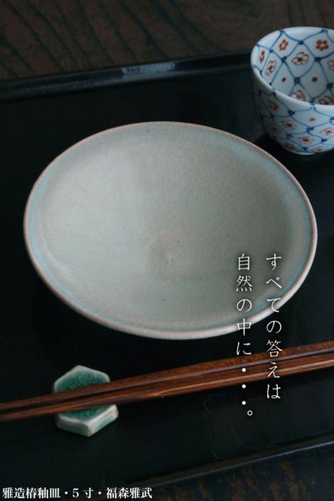 伊賀焼:雅造椿釉皿・5寸・土楽:福森雅武