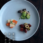 白磁・青磁:青白瓷線文7寸皿・海老ヶ瀬保