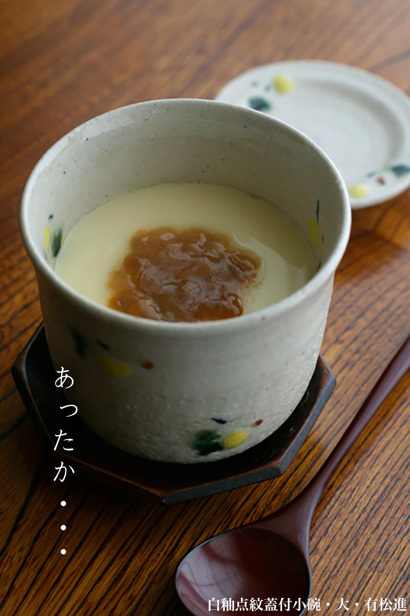 瀬戸焼:白釉点紋蓋付小碗・大・有松進