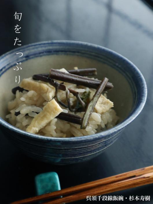 伊賀焼:呉須千段線飯碗・杉本寿樹