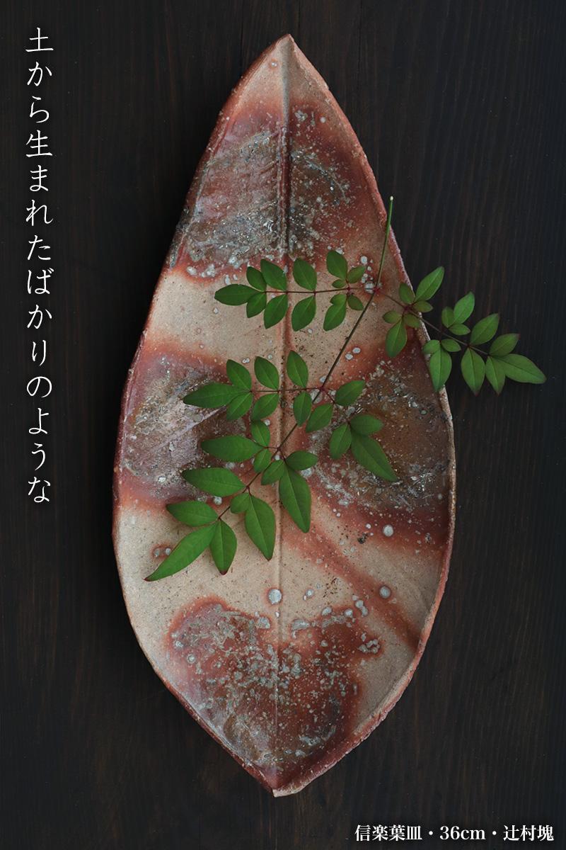 信楽焼:信楽葉皿・36cm・辻村塊