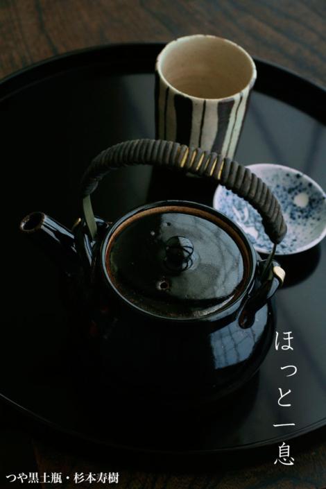 伊賀焼:つや黒土瓶・丸・杉本寿樹