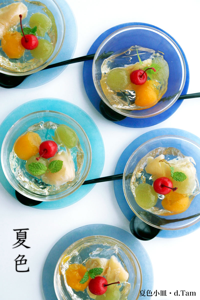 ガラス:夏色小皿・5色1組・d.Tam